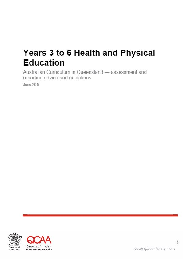 Year 5 Health and Physical Education -- The Years 3 to 6 Health and Physical Education: ACiQ Assessment and reporting advice and guidelines brings together advice about assessment, making judgments and reporting in a single document.