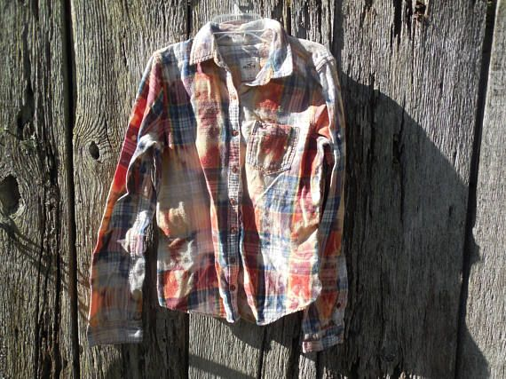 Custom one of a kind heavily bleached Womens L Plaid Flannel button down shirt Hollister original post apocalyptic urban grunge red fitted