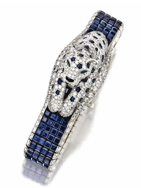 "Sapphire and diamond ""Panthere"" wristwatch, Cartier"