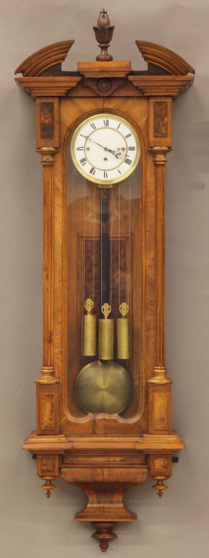 VICTORIAN TRIPLE WEIGHT WALNUT CARVED WALL CLOCK