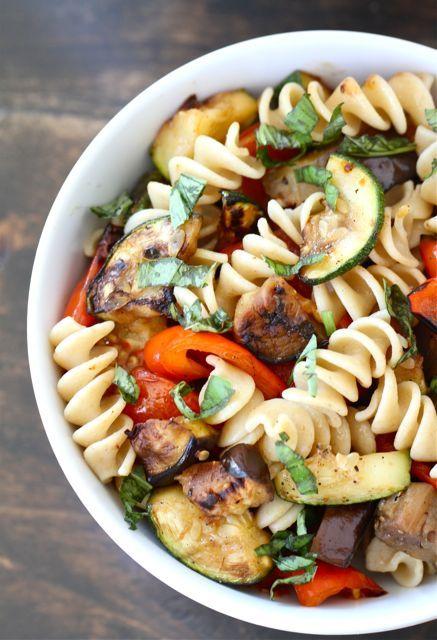Grilled Ratatouille Pasta Salad Recipe on twopeasandtheirpod.com #pasta #salad #summer
