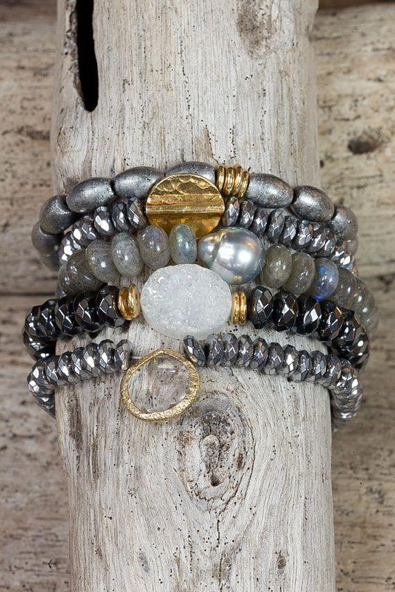 HEMATITE DRUZY STRETCH bracelets / tahitian pearl / labradorite / stackable bracelets / set of five