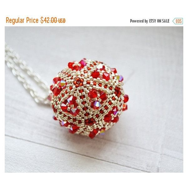 CHRISTMAS SALE Ball crystals large pendant small beads AB shining... (155 PLN) ❤ liked on Polyvore featuring jewelry, necklaces, silver pendant necklace, crystal ball necklace, silver ball necklace, red necklace and red pendant necklace
