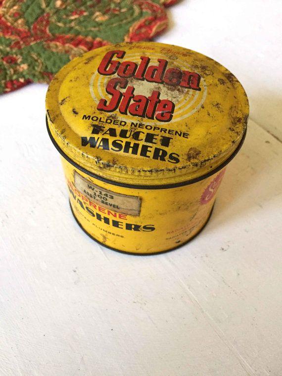 Golden State Tin, opslag blikken, ambachtelijke kamer opslag, Vintage opslagtanks, kunstenaar opslag blikken, gele opslag, oude ouderwetse blikken