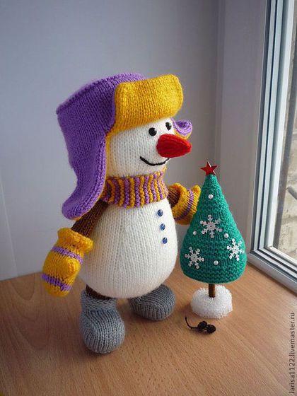 Вязание ручной работы. Заказать МК Снеговик с ёлкой. Larisa1122. Ярмарка Мастеров. Снеговик, новогодний сувенир, спицы