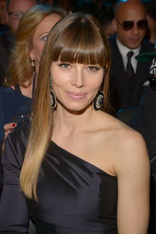 One of our favorite long hairstyles with bangs! Jessica Biel's signature style of cropped bangs and sleek strands.