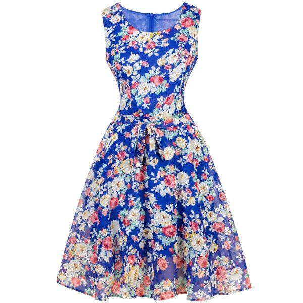Vintage Ornate Floral Print Belted Dress