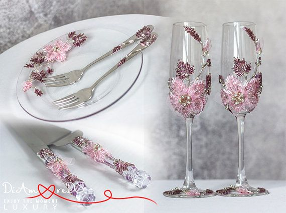 Wedding champagne flutes forks and plate & cake от DiAmoreDSLUXURY