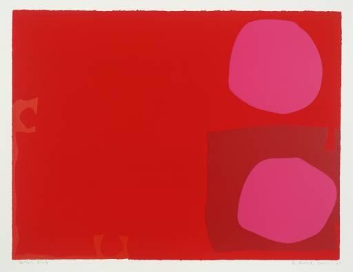 Two pink discs in dark red - Patrick Heron