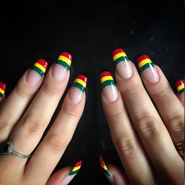 Rasta Nails | @WahNails on Instagram | #Red #Green #Gold