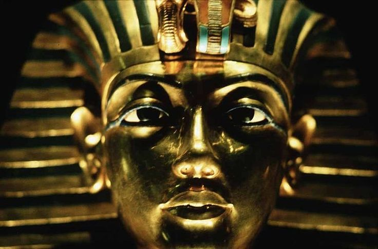 King Tut's Golden Mask ~ In hieroglyphs the name Tutankhamun was typically written Amen-tut-ankh, because of a scribal custom that placed a divine name at the beginning of a phrase to show appropriate reverence.