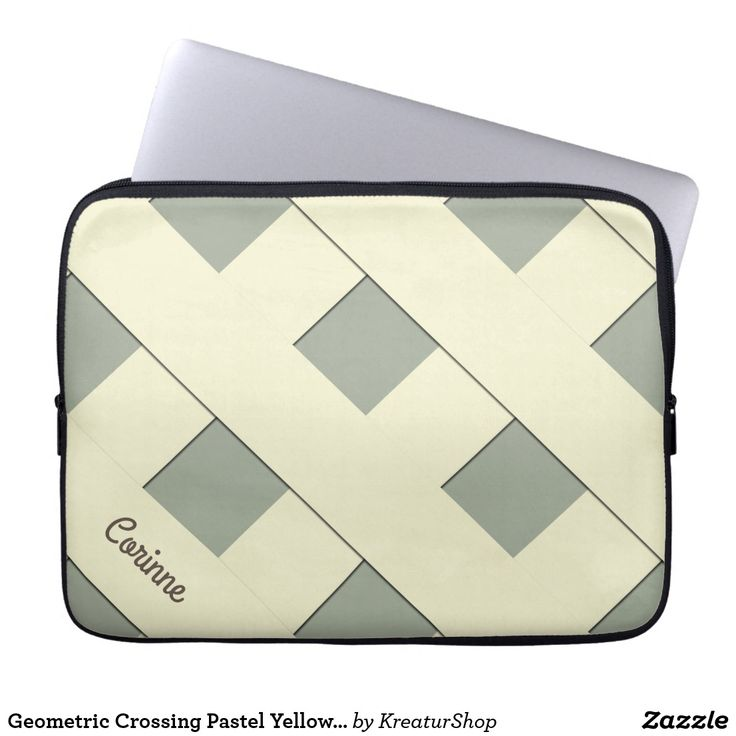 Geometric Crossing Pastel Yellow Lines with Name Sleeve