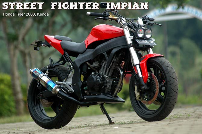 Modif Honda Tiger 2000 menjadi Street fighter