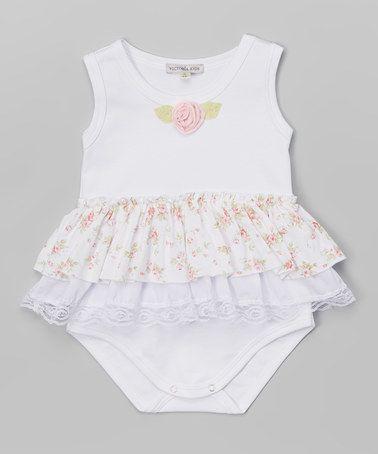Look at this #zulilyfind! White & Pink Flower Bodysuit - Infant #zulilyfinds