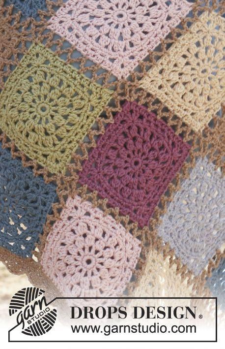 Frazada DROPS, en ganchillo / crochet, con aplicaciones en Lima. Patrón gratuito de DROPS Design.