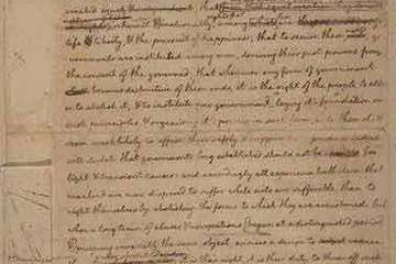 Thomas Jefferson's original rough draft of the Declaration of Independence, written in June 1776, including all the changes made later by John Adams, Benjamin Franklin and other members of the committee, and by Congress. CREDIT: Library of Congress