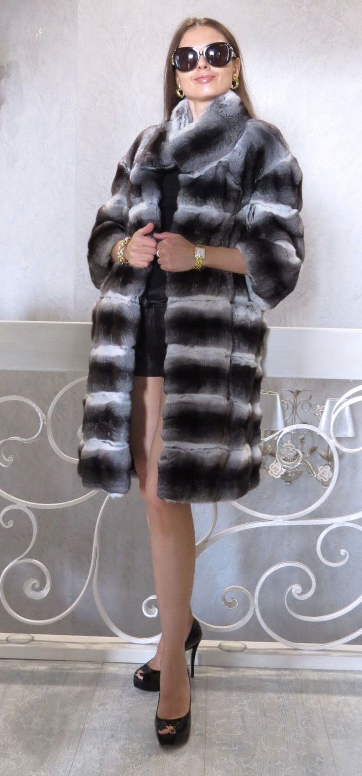 New Chinchilla Fur Coat Jacket Cocoon XS s M 0 2 4 6 Horizontal Design | eBay