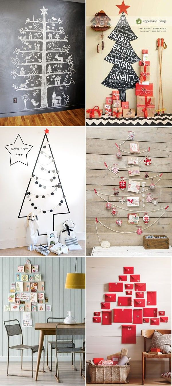 alternative Christmas trees - I especially love the last one with varied envelopes, but I would use green