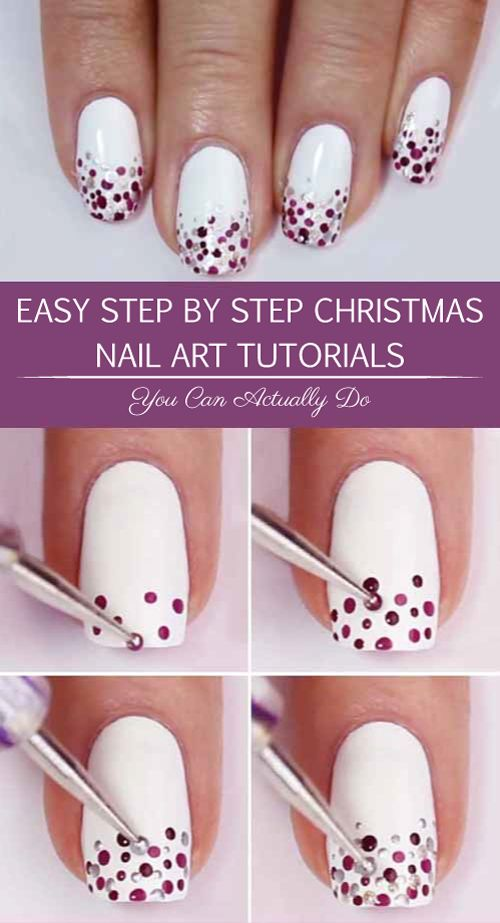 Easy Step By Step Christmas Nail Art Tutorials You Can Actually Do