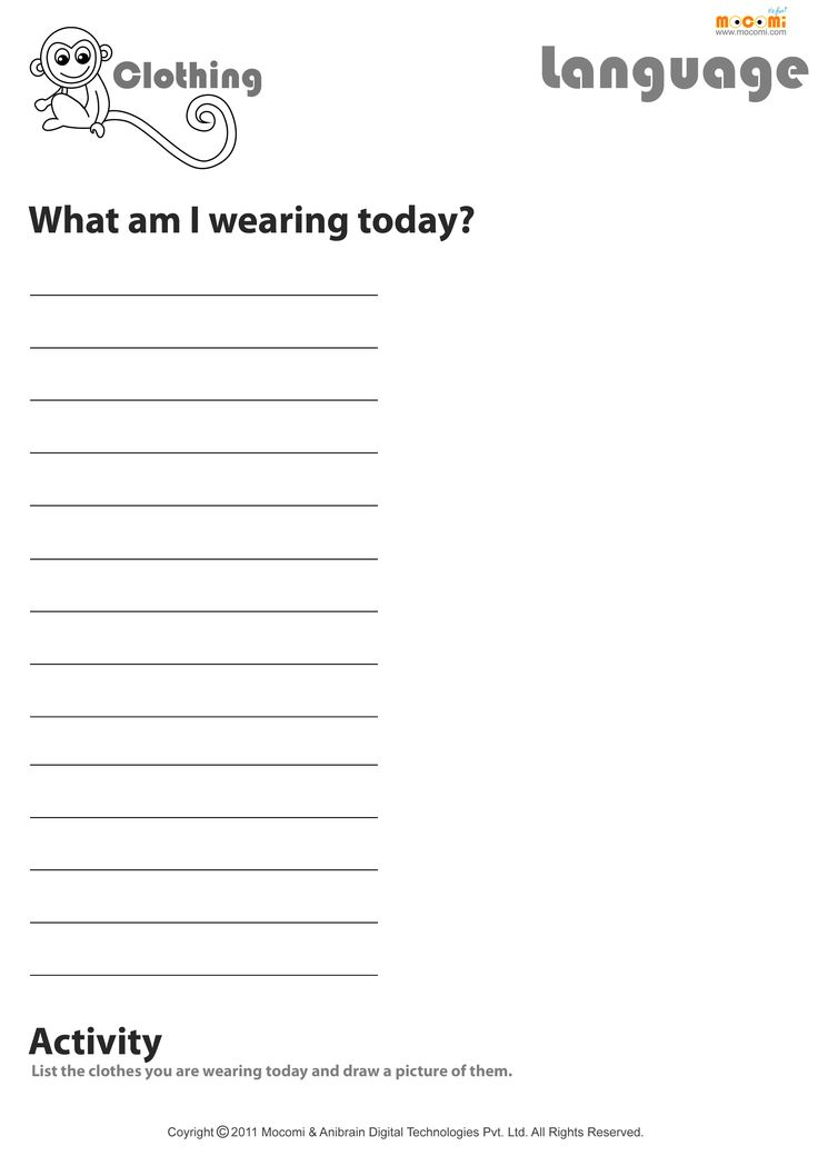 What Are You Wearing Today English Worksheet For Kids