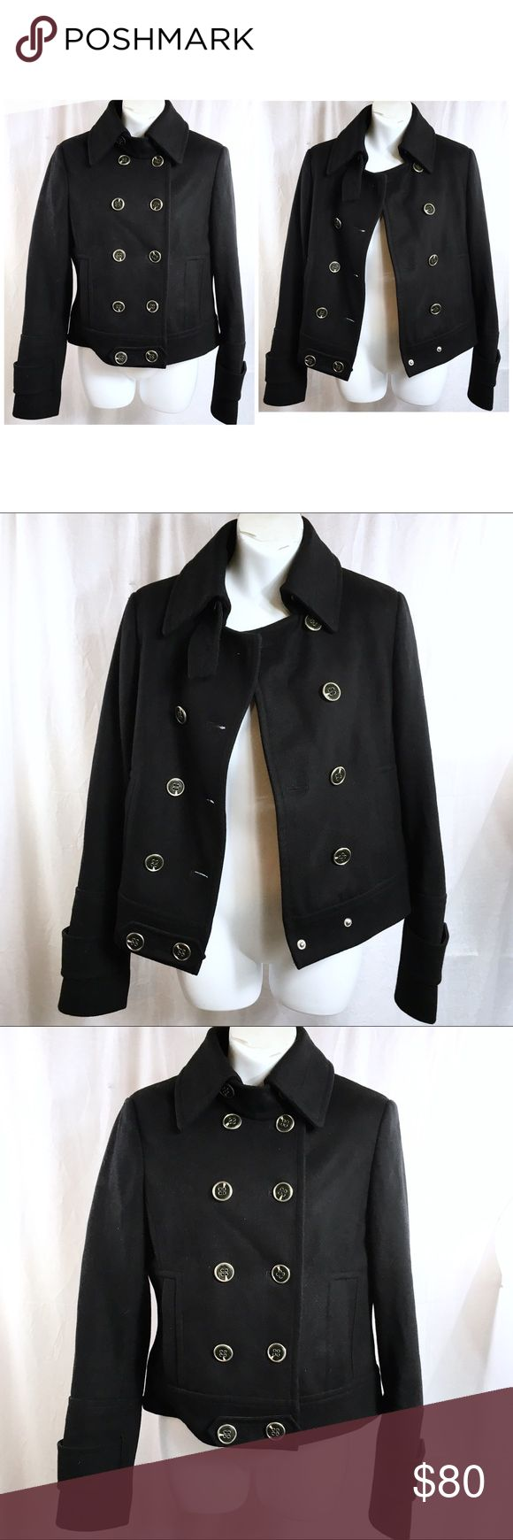 EXPRESS Black Wool Pea Coat Jacket - SMALL This jacket is in like new condition! The pockets are still sewn shut.  There are no flaws or spots on it. Laying flat, it measures 19 inches from armpit to armpit. It measures 15 inches from shoulder to shoulder. From the top of the shoulder towards the waist, it measures 22 inches. Express Jackets & Coats