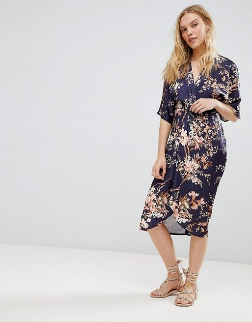 ba8657d65d Hope and Ivy | Hope & Ivy Kimono Sleeve Midi Dress With Knot Front Detail  In Floral Print
