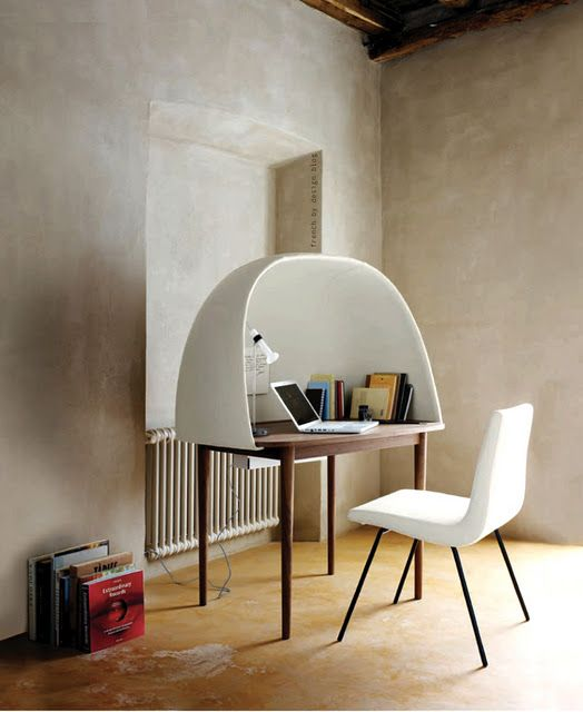 Lignet Roset Rewrite Desk: Soundproof dome attaches to table. Cable housing underneath. http://www.dezeen.com/2011/01/28/rewrite-by-gamfratesi-for-ligne-roset/