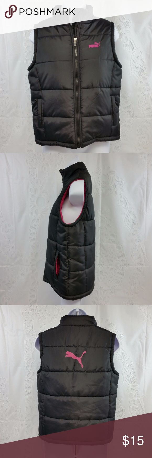 Puma Sport Girls XL Black Pink Puffer Jacket Vest It does have some loose strings.  It is a size XL in girls. It is 100% polyester. Measurements are shown in the last two pictures.  Let me know if you have any questions. :) Puma Jackets & Coats Puffers