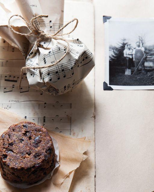 Mini Christmas Puddings in Vintage Music Paper - http://www.sweetpaulmag.com/food/mini-christmas-puddings-in-vintage-music-paper #sweetpaul