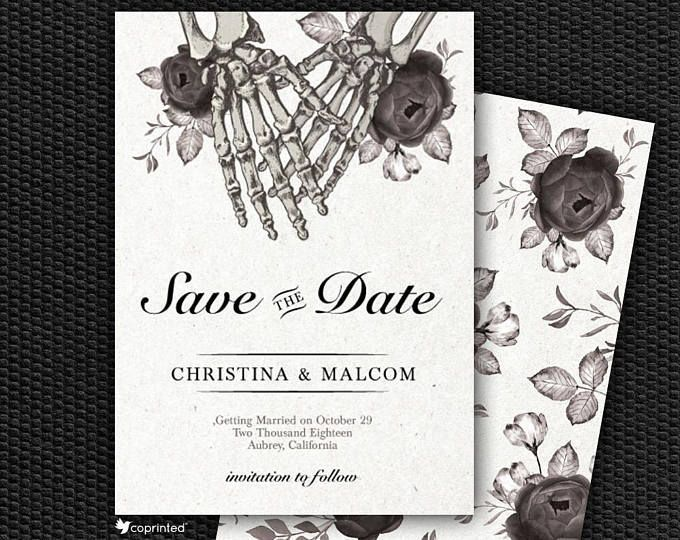 Skeleton Wedding Invitation Skull Gothic Wedding Invitation Etsy Wedding Gothic Wedding Invitations Halloween Wedding Invitations Etsy Wedding Invitations