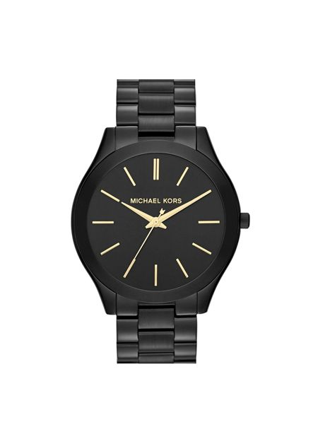 We love gold accesories but this black watch is eye-catching. Wear it with chunky gold bracelets.