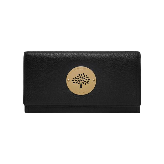 Daria Continental Wallet in Black Spongy Pebbled | Continental Wallets | Mulberry