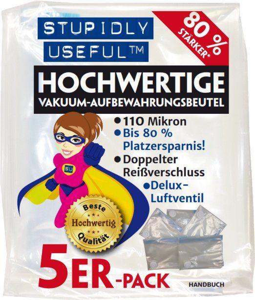 Stupidly Useful Hochwertige Large/Große-Vakuum-Aufbewahrungsbeutel - 5er-Pack - Platin 110 Mikron-Sortiment - 80 cm x 60 cm L-Größe