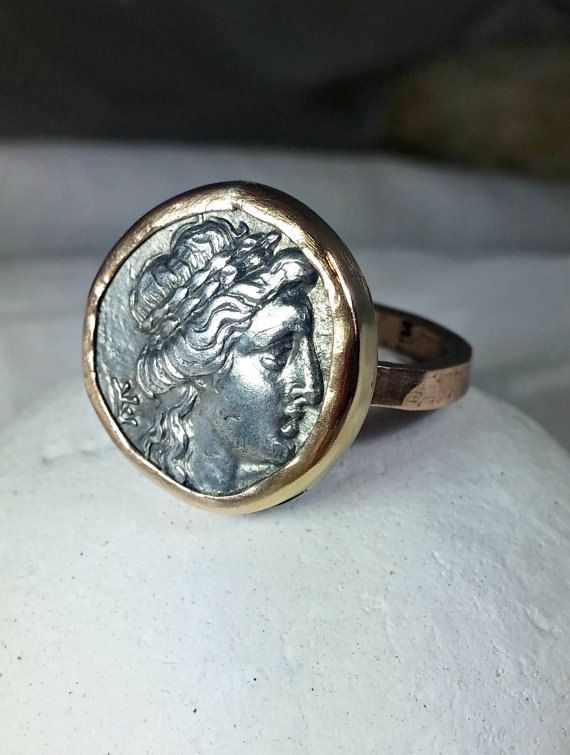 Gold Coin Ring, Statement Ring, Ancient Coin Jewelry, solid 14 kt Rose gold and coin ring, Apollo coin ring