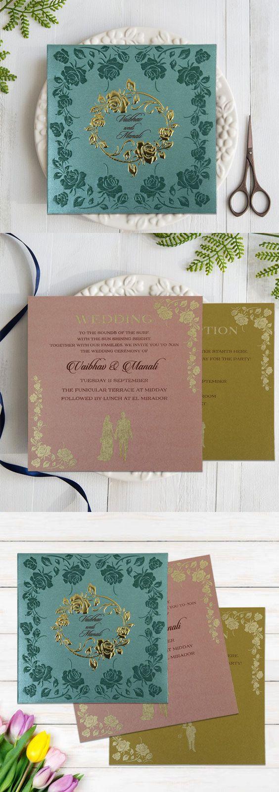 matter for wedding invitation in gujarati%0A BLUE SHIMMERY FLORAL THEMED  FOIL STAMPED WEDDING INVITATION D          WeddingCards  weddingplanning