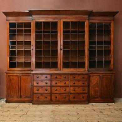 A nineteenth century mahogany breakfront bookcase,