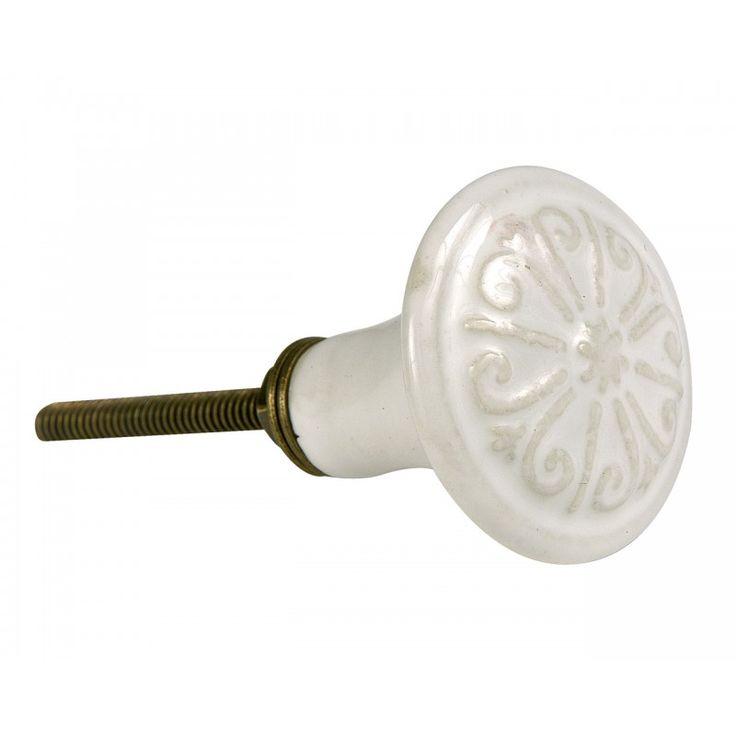 Kerámia fogantyú - antik fehér