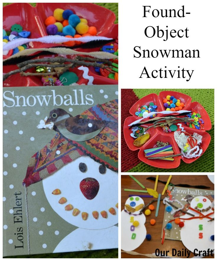 Make a found-object snowman as an activity to go with the book Snowballs by Lois Ehlert. Quick setup and lots of fun for a winter day!