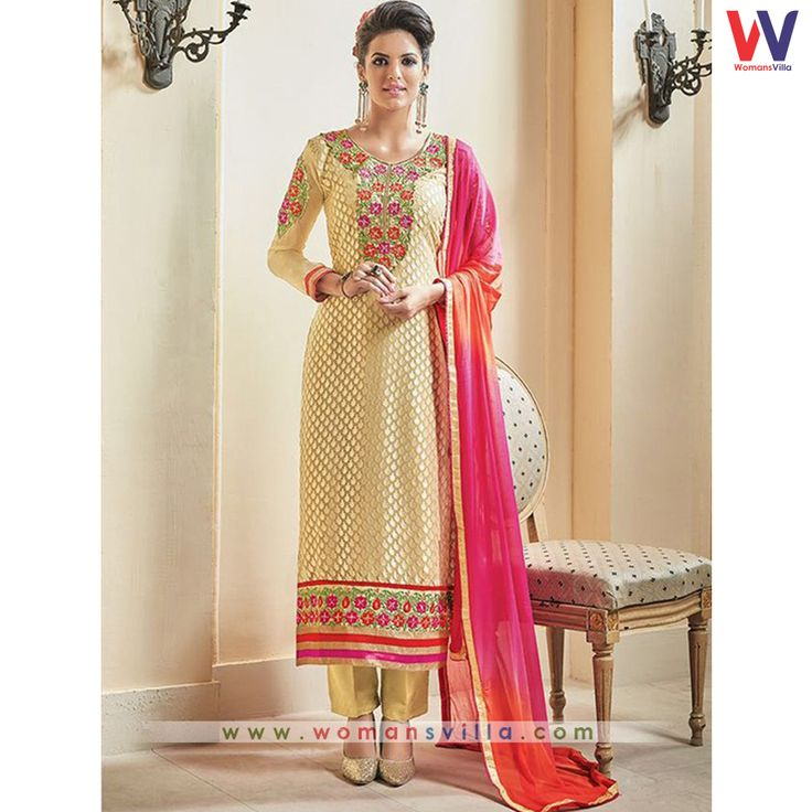 Glowing Gold Colored Brasso Stright Cut Salwar Suit#Womansvilla