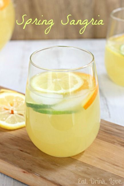 Spring Sangria: 1 750ml bottle white wine (light, fruity), 3 c. Sprite or lemon/lime seltzer, 2 to 3 c. pineapple juice, thinly sliced lemons, lime, and orange (pineapple too if desired). Stir liquids together and refrigerate. Stir in fruit slices shortly before serving. (Because seltzer is less sweet, I added 1/4 c. triple sec)