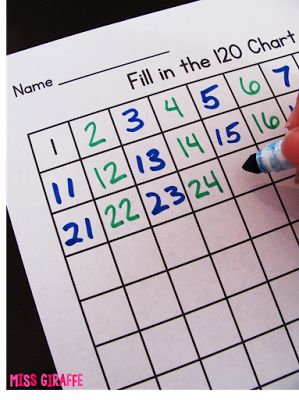 Blank writing numbers to 120