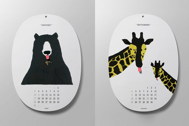 """Cute calendar """"BEEH (Bleah)"""" by D-BROS (Japan). Once you see it, you cannot help sticking your tongue out like animals in this calendar do!"""
