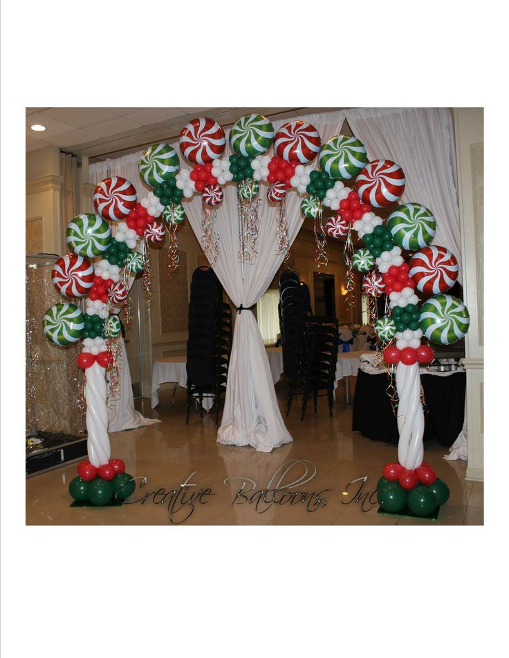 Christmas candy theme arch balloon decorations for Arch decoration supplies