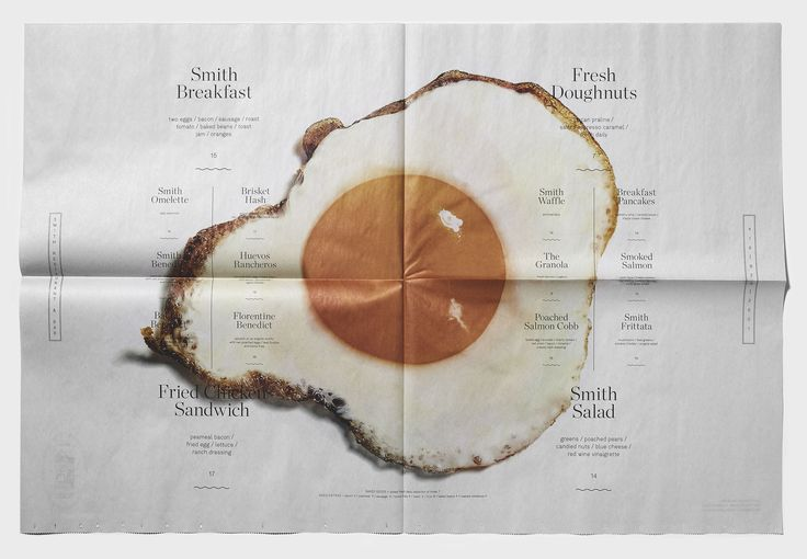 Smith Brunch Menu | Smith Restaurant Newspaper Menu Design | Award-winning Applied Print Graphics | D&AD