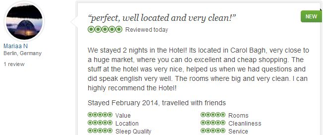 #jivitesh:Ms. Mariaa N from Berlin, Germany who stayed in our hotel in February 2014 reviewed our Hotel with Excellent Rating on Tripadvisor.com.