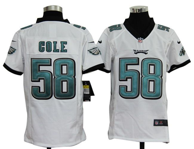 2012 Youth Nike NFL Philadelphia Eagles 58 Trent Cole White Jerseys
