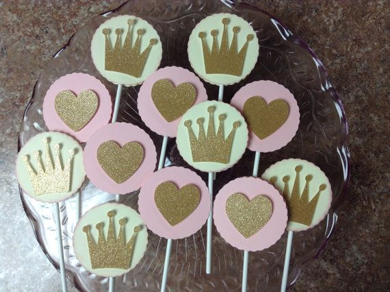 Princess  Birthday Cupcake Pokes by whimzypartycreations on Etsy, $10.00