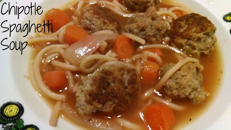 Chipotle Spaghetti Soup Recipe, Spaghetti Soup is a must have during the winter months for our house! It is a great soup that warms you up & filling 2!