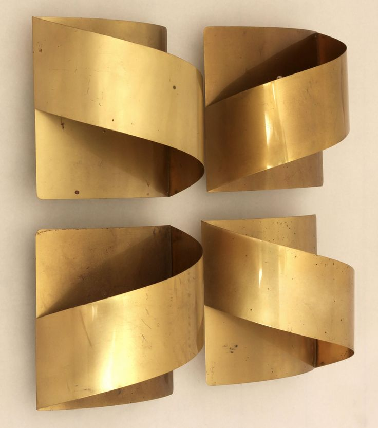 Anonymous; Brass Wall Lights by Falkenbergs Belysning, 1970s.