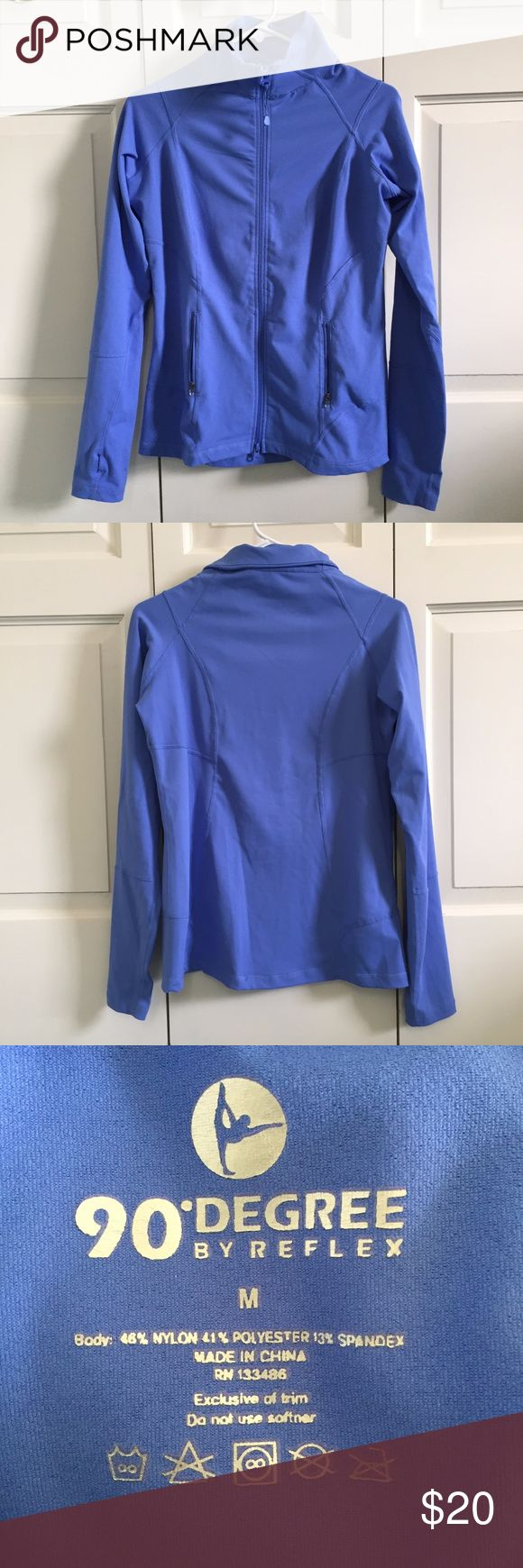 90 Degree by Reflex Athletic Jacket Periwinkle blue workout jacket from 90 Degree by Reflex. Full front zip with two zippered pockets and little thumbholes in the sleeves. Worn only a few times, but the front zipper's toggle elastic looks a little tired (see picture). 90 Degree By Reflex Jackets & Coats